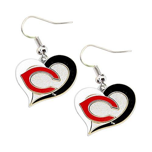 Cincinnati Reds Ring - MLB Cincinnati Reds Team Logo Swirl Heart Earring Sports Fan Gift