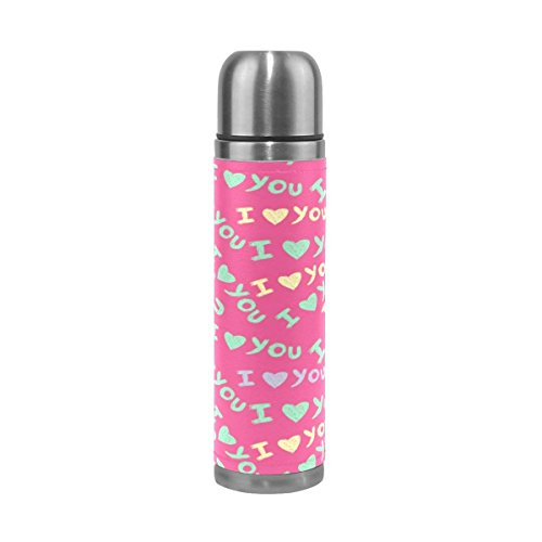 I Love You Stainless Steel Water Bottle 17 Oz Leak Proof Vacuum Insulated Thermos Flask Genuine Leather Wrapped Cover