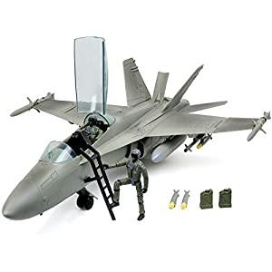 Best Epic Trends 41of6UJ12EL._SS300_ Click N' Play Military Air Force F/A 18 Super Hornet Fighter Jet, 16 Piece Play Set with Accessories.