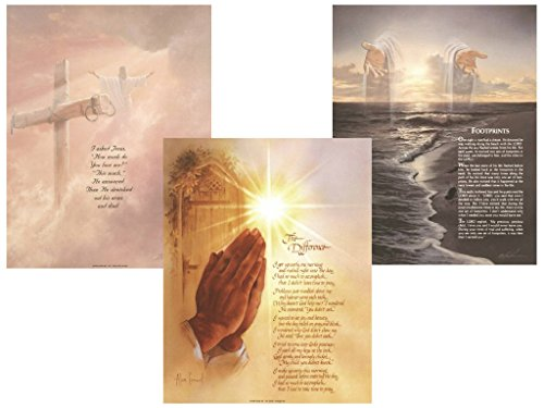 Set of 3 Christian Inspirational Quotes Poems Footprints Jesus Christ Art Prints Religious Spiritual Posters 11x14 Inches Home Decor Great for Framing!