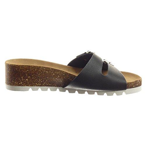 Sopily - Scarpe da Moda sandali Aperto alla caviglia donna fibbia metallico Tacco zeppa 4.5 CM - Nero