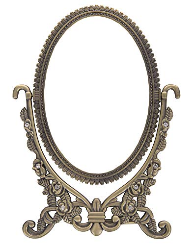 Nerien Vintage Style Oval Two Sided Makeup Mirror with Embossed Flower Bronze