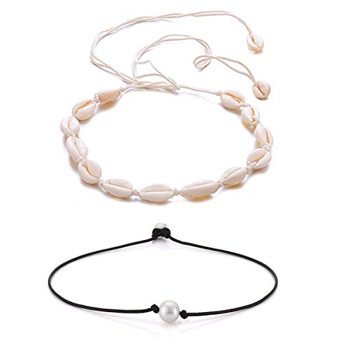 - ATIMIGO Natural Shell Choker Handmade Rope Pearl Hawaii Beach Necklace Jewelry for Women Girls
