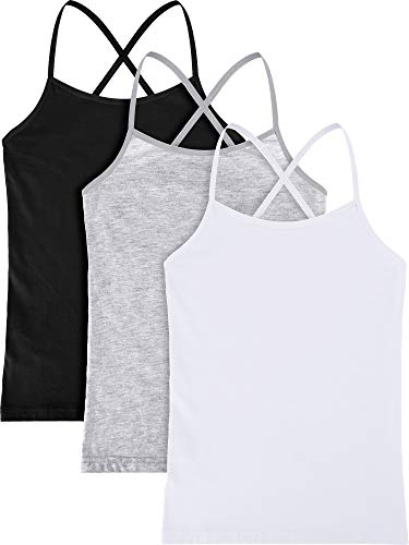 Girl Dance Tank Top Raceback Crop Camisole Sleeveless Dancewear Tank Top for Ballet Dance Gymnastics, 3 Pieces (Color Set 2, L Size for 6 Years Old) Child Dance Tank Top
