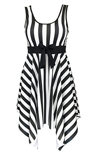 DANIFY Womens One Piece Swimsuit Sailor Striped Plus Size Swimwear Cover up Swimdress,1-black,IT62/US28