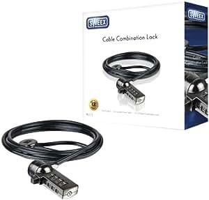 Sweex PA213 - Cable de seguridad para ordenadores portátiles, color negro