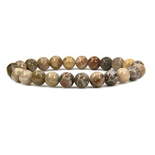 (Amandastone Natural Coral Fossil Gemstone 8mm Round Beads Stretch Bracelet 7