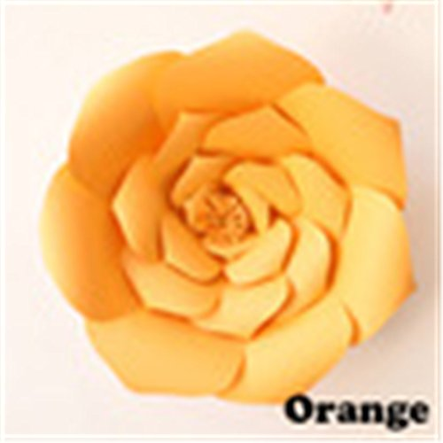 1Pcs 30Cm Paper Flowers Artificial Rose Flowers DIY Crafts Birthday Party Home Backdrop Wedding Decoration Event Supplies Orange