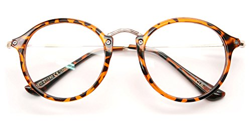 V.W.E. Vintage Inspired Metal Bridge Clear Lens Glasses (Orange Tortoise, Clear) (22 Glass Orange)