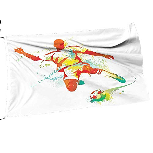 painting-home Garden Flag Army Soccer Player Kicks The Ball Pa Splash Speed Boots Orange Teal Blue Premium Quality Durable Material14 x 21