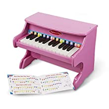 Melissa & Doug Learn-to-Play Pink Piano (25 Keys, Color-Coded Songbook, Great Gift for Girls and Boys - Best for 3, 4, and 5 Year Olds)