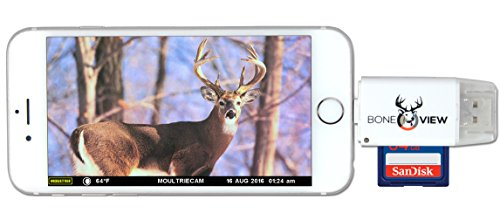 BoneView Trail Camera Viewer for Apple iPhone & iPad, View Photos and Videos from any Wildlife Scouting Game Cam on Smartphone, SD & Micro SD Memory Card Reader for Deer Hunters - Cac Card Reader For Laptop