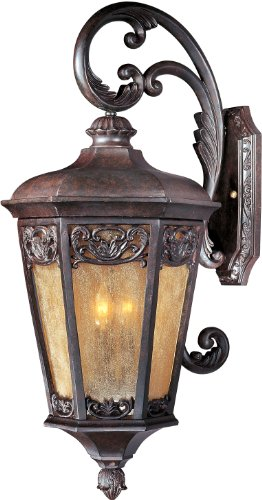 Maxim 40175NSCU Lexington VX 3-Light Outdoor Wall Lantern, Colonial Umber Finish, Night Shade Glass, CA Incandescent Incandescent Bulb , 40W Max., Dry Safety Rating, Standard Dimmable, Fabric Shade Material, Rated Lumens