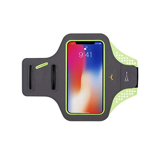 Sunitra Cell Phone Armband for iPhone X 6/6s Plus 7/7 Plus 8/8Plus, Waterproof Fabric Access Your Touch Screen Without Taking Out Cell-Phone, Running Armband (Green, 4.7 inches)