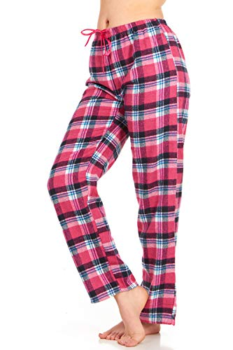 Womens Flannel Pajama Pants, Long Novelty Cotton Pj Bottoms, Pink Plaid, X-Large