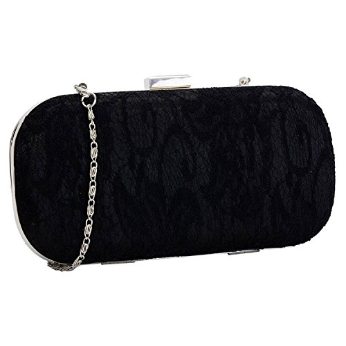 Bag Chain Style With Clutch Case Evening Lace Covered Long Hard A Black Box wPnqxAnpf0