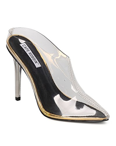 [Women Pointy Toe Lucite Stiletto - Dressy, Costume, Party - Lucite Stiletto Mule - GE33 By Cape Robbin - Gold (Size:] (Kiddie Costume For Sale)