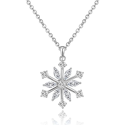 925 Sterling Silver Frozen Snowflake Pendant Necklace, Winter Jewelry Christmas Gift (Frozen Silver Jewelry Sterling)