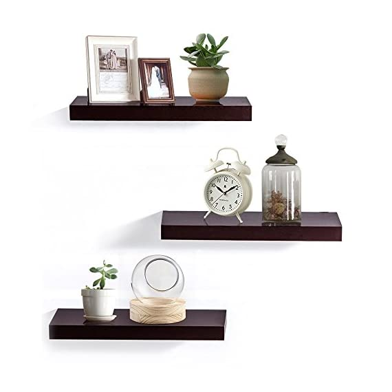"INART Brown Floating Shelves Storage Shelf Set of 3 Wall Mounted Display Ledge, 5.9"" Deep - DECORATIVE WALL SHELF: Decorative and functional for your home, office, or dorm room; use to display vases, small pictures and more MADE OF LIGHTWEIGHT MATERIALS: Made of lightweight and high quality MDF. These wall shelves are fits in any room WALL MOUNTED SHELF DIMENSION: 14.9 in W x 1.3 in H x 5.9 in D - wall-shelves, living-room-furniture, living-room - 41of8gnkV8L. SS570  -"