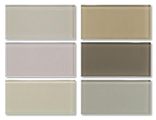 3x6 Glass Subway Tile Sample Combo Pack - Beige, Taupe and Brown