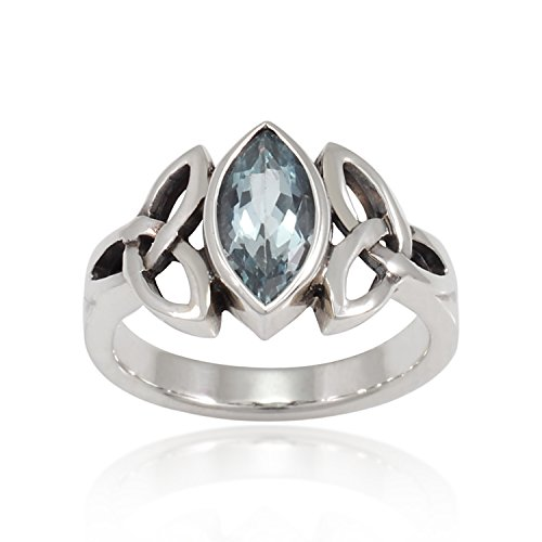 (Chuvora 925 Sterling Silver Triquetra Celtic Knot 12mm Genuine Blue Topaz Band Ring - Nickel Free, Size 7)