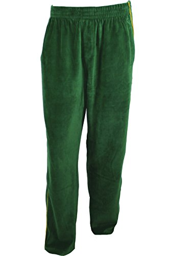 Sweatsedo Green Mens Velour Track Pants with Gold Piping (Medium)