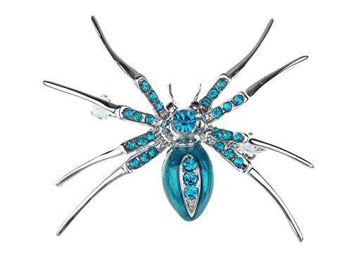 Alilang Enamel Crystal Rhinestone Halloween Spider Fashion Jewelry Pin -