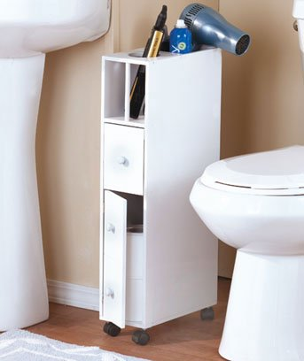 White Bathroom Space Saver Cabinet With Wheels Amazoncouk