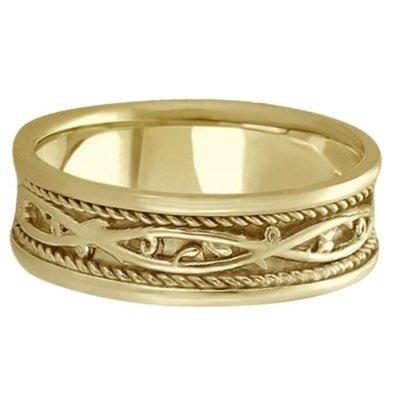 Hombre Irlandés Hecho A Mano Celtic Anillo De Bodas De Oro Amarillo De 14 K (7 Mm): Allurez: Amazon.es: Joyería