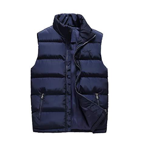 YUSKYMen Oversized Jacket Coat Mandarin Collar Brumal Soft Puffer Vest Dark Blue 2XL