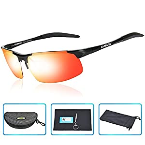 DAWAY SG06BE Mens Polarized Sports Sunglasses for Golf Fishing Cycling Driving - UV 400 TAC Lens with Al-Mg Unbreakable Metal Frames