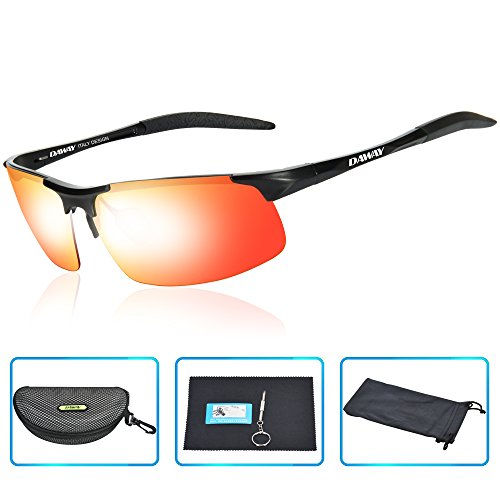 DAWAY SG06BE Mens Polarized Sports Sunglasses for Golf Fishing Cycling Driving - UV 400 TAC Lens with Al-Mg Unbreakable Metal - Are Sunglasses What Best The Running