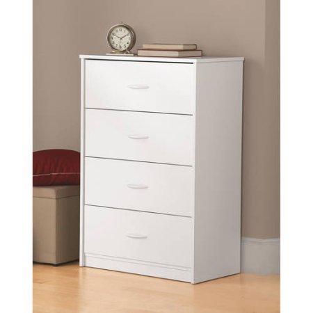 Traditional and Easy Glide 4 Drawer Dresser (White Stipple) - Four Drawer Dresser Finish