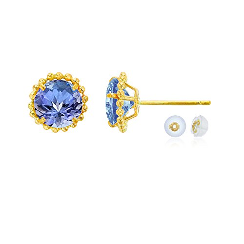 14K Yellow Gold 5mm Round Tanzanite with Bead Frame Stud Earring with Silicone Back