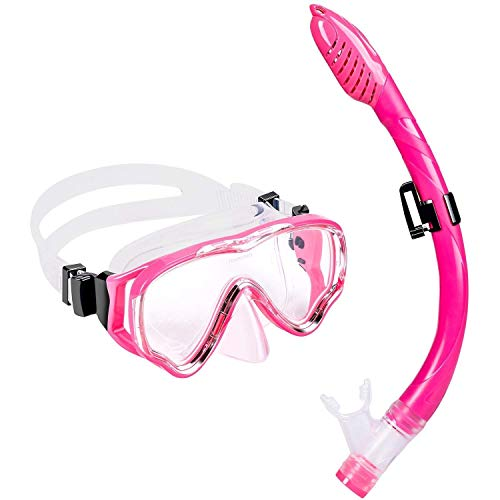 UPhitnis Kids Seaview Snorkel Set - Dry Top Snorkel Mask with Big Eyes for Kids, Childs, Boys, Girls - Easybreath Snorkeling Mask for Snorkeling, Diving