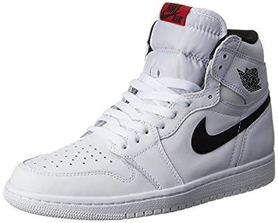 Nike Mens AIR JORDAN 1 RETRO HIGH OG, WHITE/BLACK-WHITE, 18