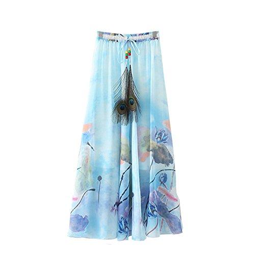 Kaxuyiiy Femmes bohmien Fleur de Lotus Taille lastique Plage fte Maxi t Plisse Jupe Longue Maxi Long Skirt Lotus Bleu