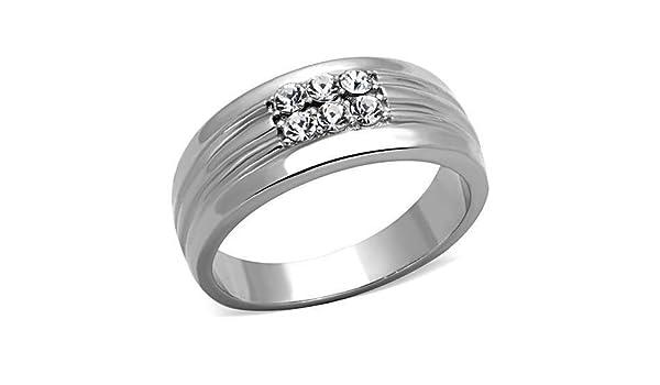 Yourjewellerybox - Anillo con detalle de anillo de matrimonio - acero inoxidable: Amazon.es: Joyería