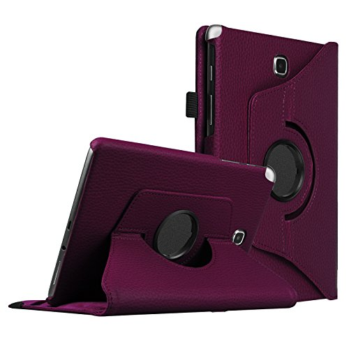 Fintie Rotating Case for Samsung Galaxy Tab A 8.0 (2015) - Premium Vegan Leather 360 Degree Swivel Stand with Auto Sleep/Wake Feature for Tab A 8.0 2015 Release, Purple