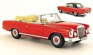 Mercedes 280 SE Descapotable (W111), rojo, Modelo de Auto, modello completo, Norev 1:18