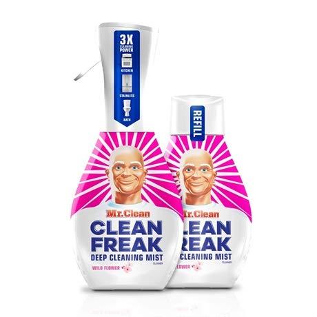 Mr. Clean Freak Deep Cleaning Mist Multi-Surface Spray Wild Flower Bundle, 1 Starter + 1 Refill