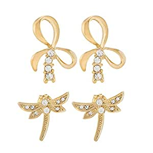 Venus Accessories Gold and Rhodium Plated Alloy Stud Earrings 2 Piece Set
