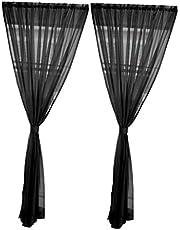 Baoblaze Enfärgat dörrfönster voile 2 panel Rod Room Curtain Sheer – svart – 200 x 200 cm