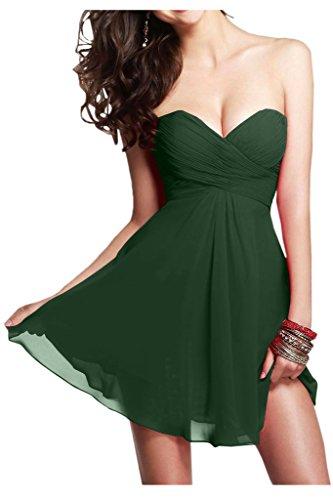 Ivydressing Damen Kurz Chiffon A-Linie Abendkleid Dunkelgruen HUcqIeLrh