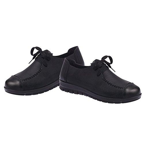 Les Femmes Optimales Travaillent Des Chaussures De Pompe En Cuir Antidérapant Noir