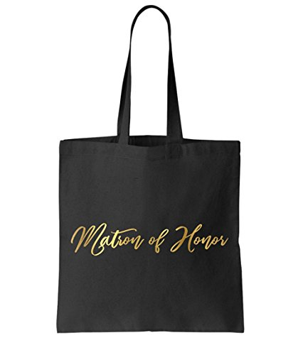 (Matron of Honor gift Tote bag by Graceful Greeting Co Heavy Black Canvas)