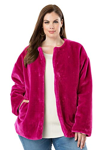 (Roamans Women's Plus Size Faux-Fur Jacket - Crystal Berry, 18/20 )