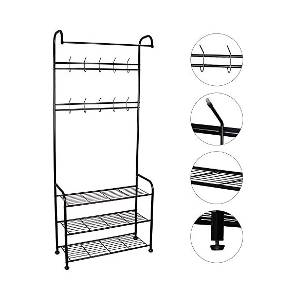 LENTIA Entryway Coat Rack Hall Tree Shoe Bench 3 in 1 Design Metal Storage Rack with Bag Coat Hat Umbrella Shoe Rack Fits Your Hallway entryway Bedroom and Dressing Room Easy Assembly (Gem Black) - Sturdy and Durable Structure: LENTIA multifunctional hanging clothes racks is made up of high quality and rust-resistant metal, which is really durable. No worry about tipping over. 3-IN-1 Designed: Perfectly combined with coat rack、storage shelf and shoes bench for your daily storage needs. The top rod provides space to hang your clothes, and the 2 extra shelves can be used to store your shoes, handbags, boxes or more accessories, which would save much space for your home and keep the entryway neat and tidy. Modern Style: Simple and elegant design make a relaxed and comfortable aesthetic, absolutely suitable for your hallway, front door, living room, bedroom and dressing room. - hall-trees, entryway-furniture-decor, entryway-laundry-room - 41ofCjA4BfL. SS570  -
