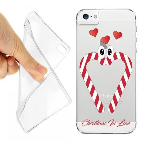 CUSTODIA COVER CASE CASEONE BASTONCINI ZUCCHERO LOVE PER IPHONE 5 5S TRASPARENTE