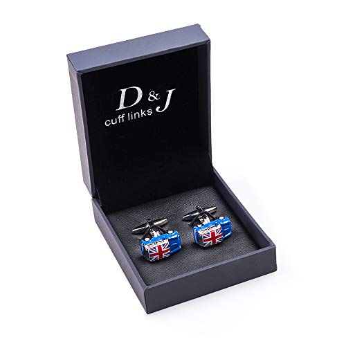Blue Print Cufflinks - Blue Mini Cooper car in Solid Metal Rhodium Cufflinks and with UK Flag Screen Print (Multicolor)